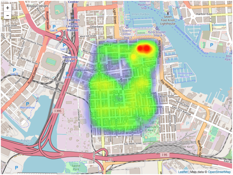 A heatmap created using the Heatmap.js plugin for Leaflet showing average sales prices in Federal Hill, Baltimore, MD